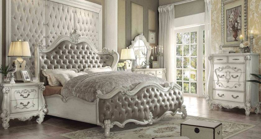 Acme Versailles Bed Upholstered Vintage Gray Bone White