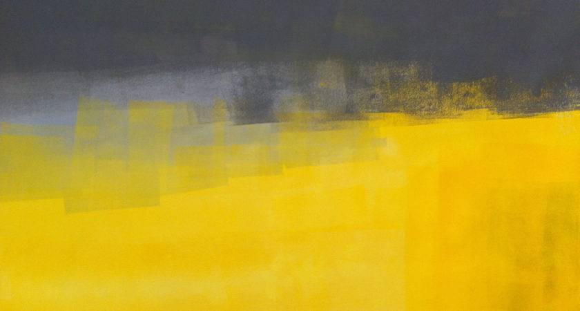 Acrylic Abstract Art Painting Yellow Grey Modern
