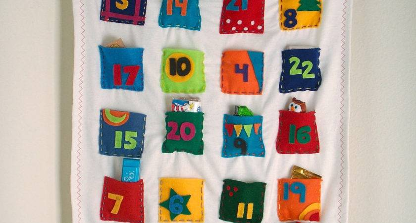 Advent Calendar Personalized Whimsical Colorful Fabrics Fill