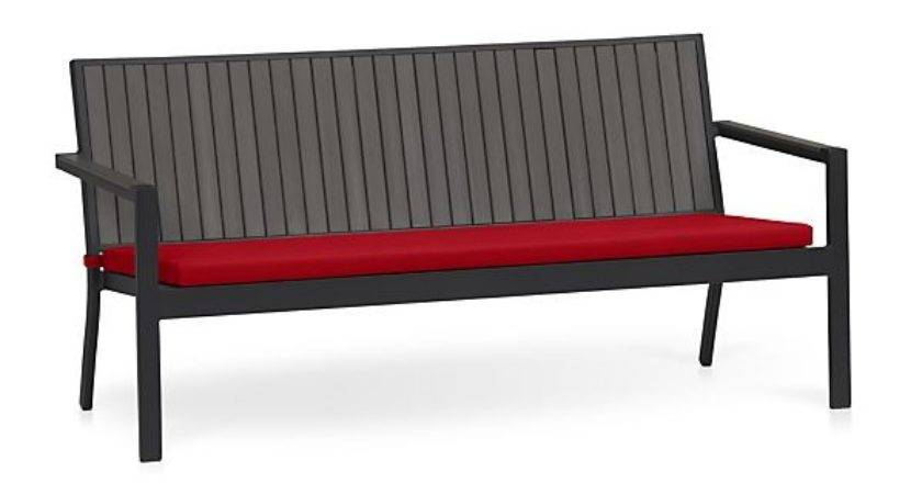 Alfresco Grey Sofa Sunbrella Red Ribbon Cushion