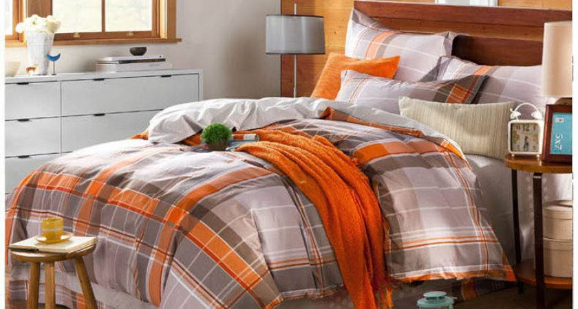 Aliexpress Buy Grey Orange Plaids Bedding Set Pcs