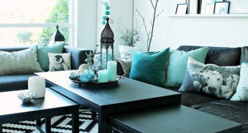 Amazing Living Room Accented Turquoise Adorable Home
