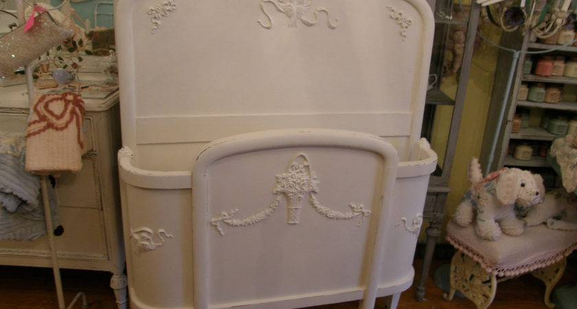 Antique Chic Bed Frame White Shabby Twin