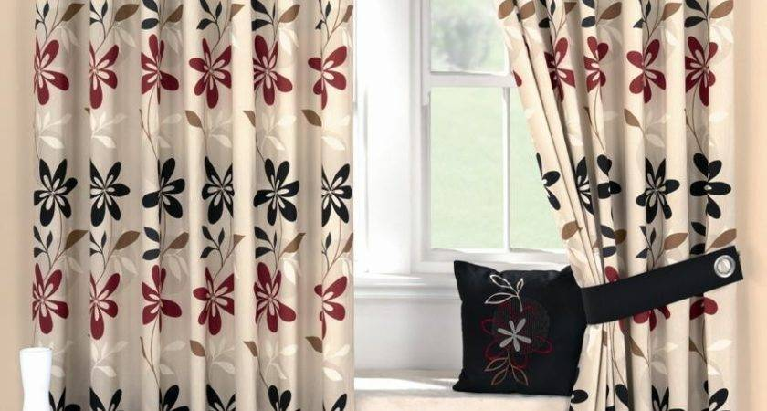 Ariel Red Black Ready Made Eyelet Curtain Curtains