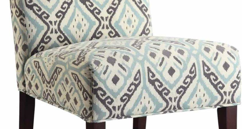 Armless Accent Chair Multi Colored Fabric Design