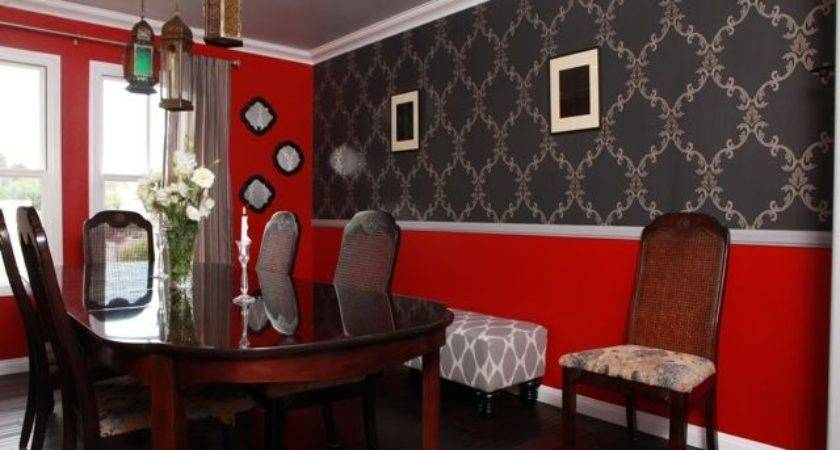 Astounding Red Grey Dining Room Best