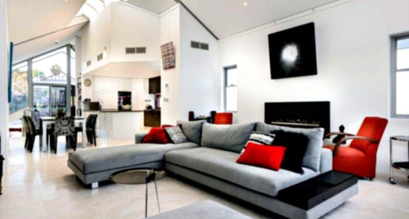 Awesome Black White Living Room Designs Modern Red