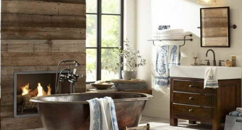 Bathroom Rustic Ideas Fireplace