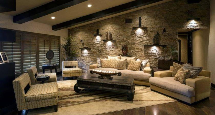 Beautiful Exposed Stone Living Room Wall Ideas