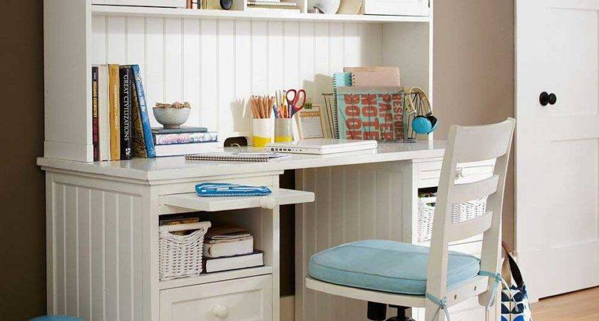 Beautiful Girl Bedroom Study Desk White Blue Coffee