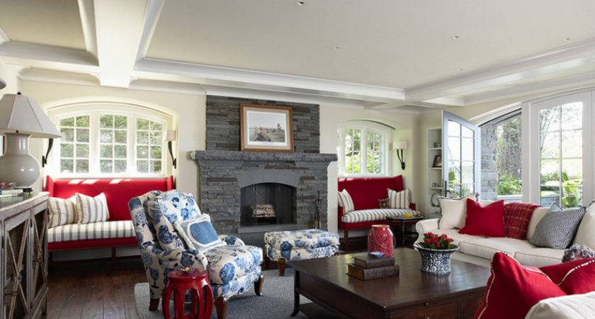 Beautiful Living Rooms Blue Red White Accents