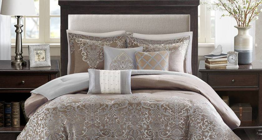 Beautiful Luxurious Elegant Blue Grey Taupe Silver Gold