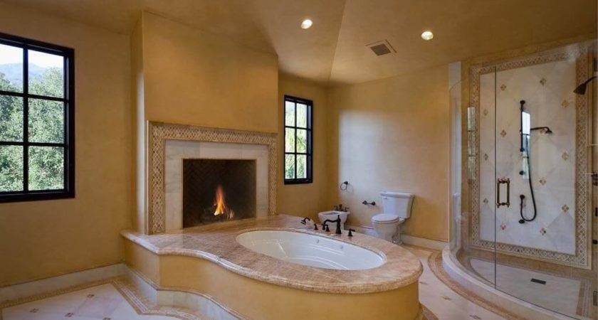 Beautiful Master Bathroom Designs Fireplaces Housely