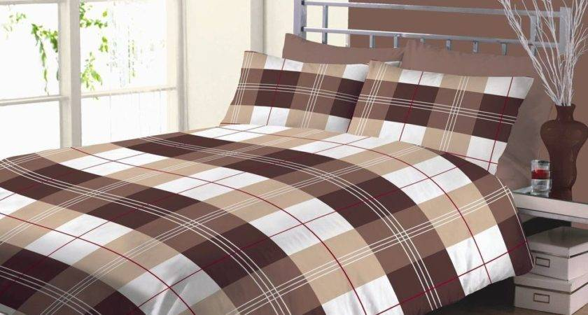 Becky Checked Squares Chocolate Brown Cream Beige Duvet