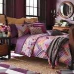 Bedroom Contemporary Plum Cream Bedding Purple Bed