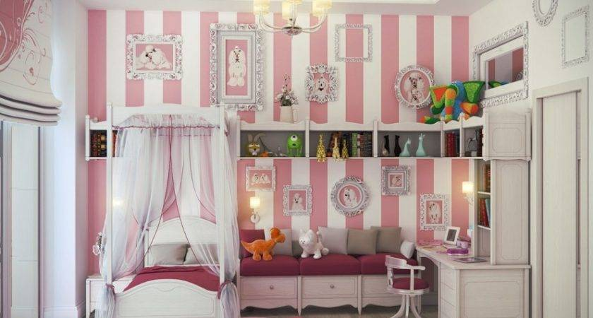 Bedroom Designs White Pink Little Girls Ideas