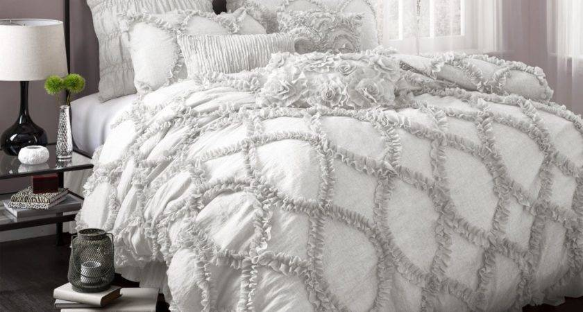 Bedroom Enchanting White Ruffle Comforter Decoration