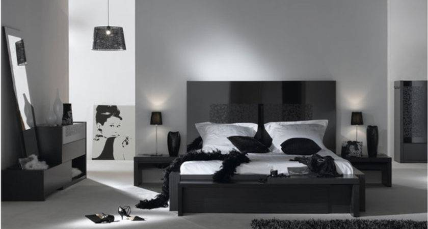 Bedroom Gray Walls Black Furniture