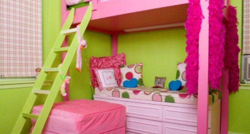 Bedroom Magnificent Girl Pink Lime Decoration