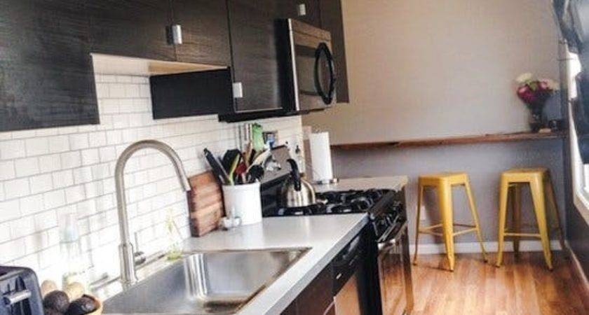 Before After Narrow Galley Kitchen Gets Urban