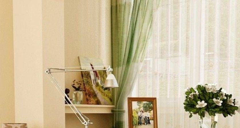 Beige Green Curtains Decorating Gray