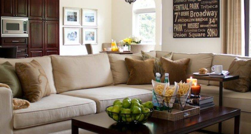 Beige Sectional Transitional Living Room