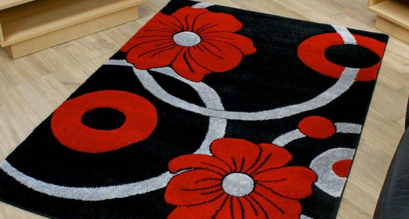 Black Grey Red Circle Flowers Pattern Modern Style Rug