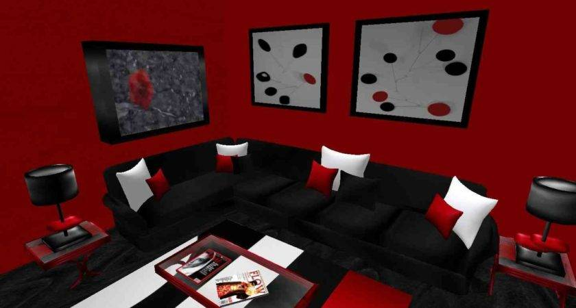 Black Red Living Room Accessories