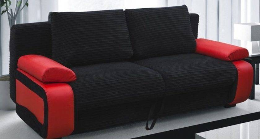 Black Red Sofa Modern Set Couch