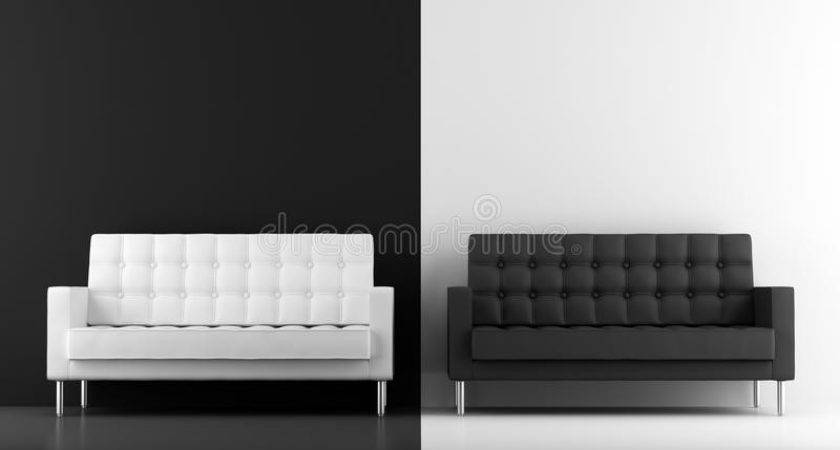 Black White Couches Illustration Wall