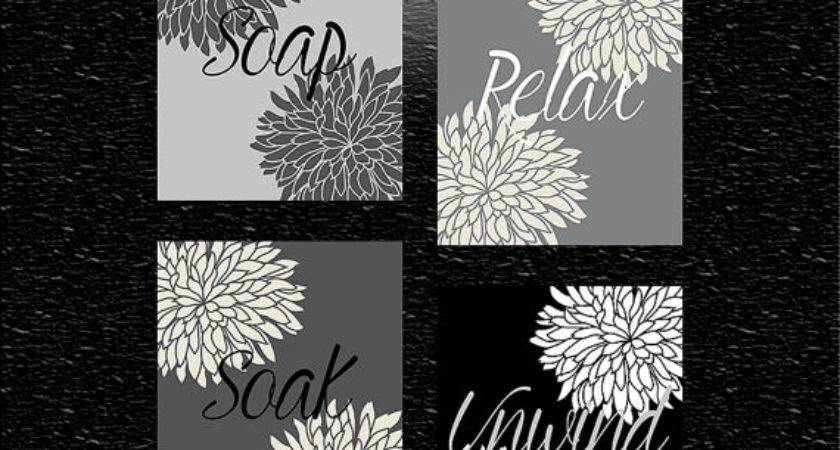 Black White Grey Dahlias Dahlia Wall Art Bathroom