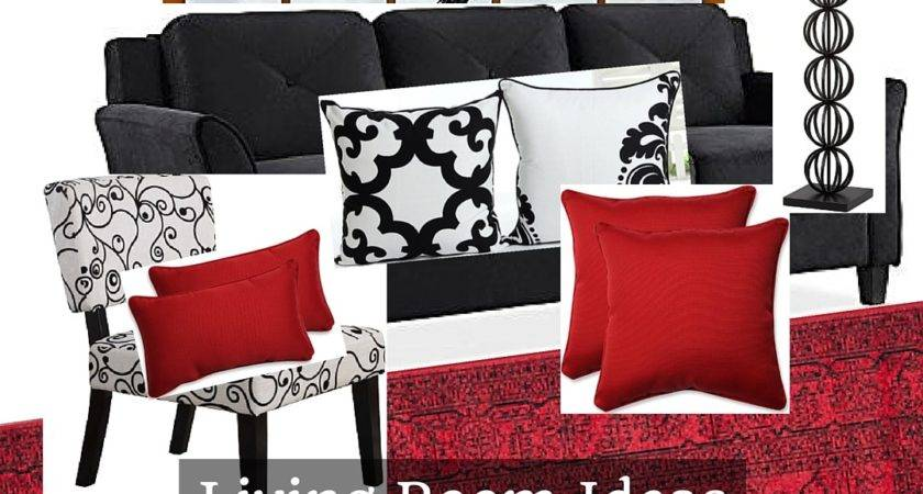 Black White Living Room Red Accents Home Decor Muse
