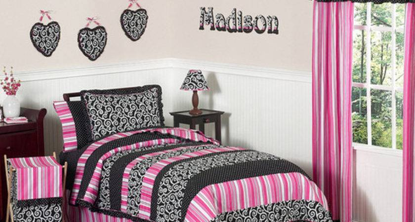 Black White Pink Bedroom Home Trendy