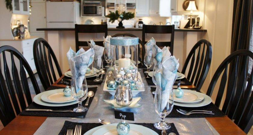 Black White Silver Christmas Table Decorations