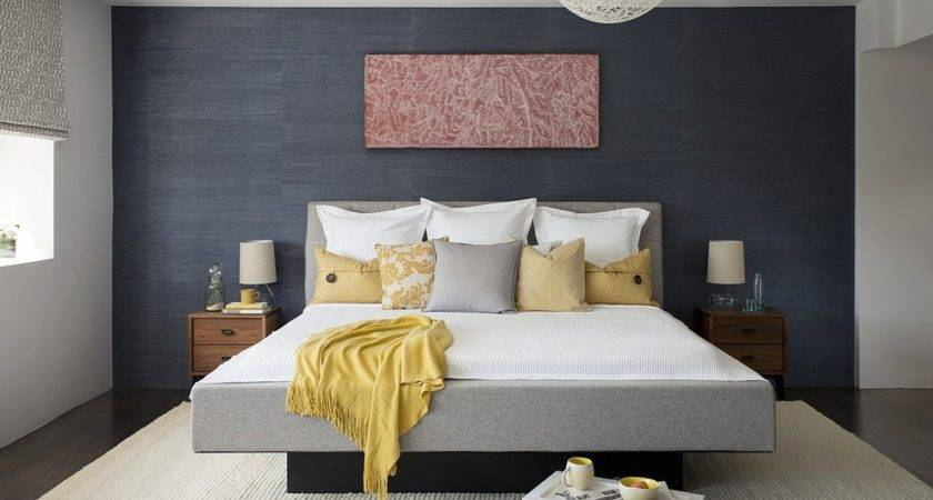Blue Accent Wall Contemporary Navy