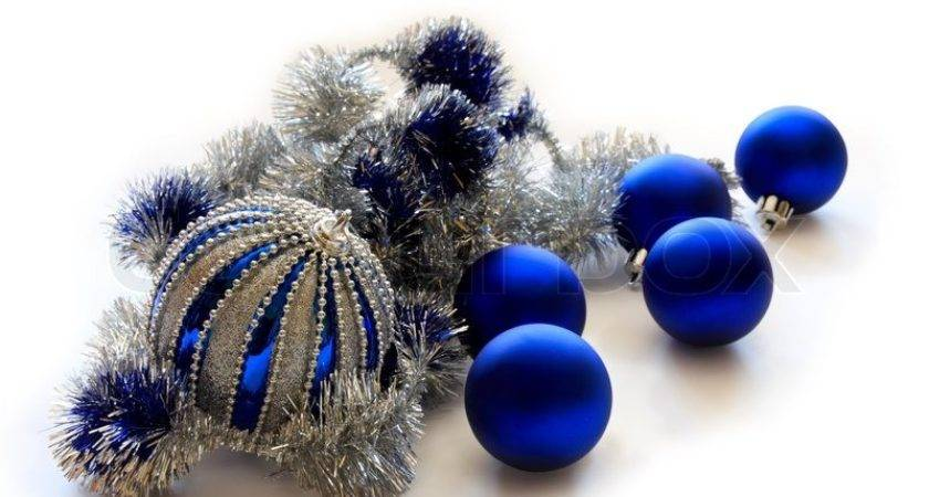 Blue Christmas Balls Silver Tinsel Isolation