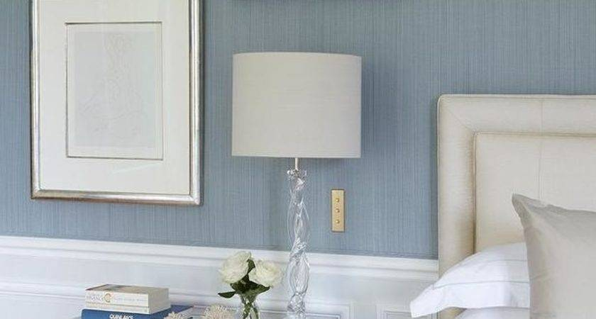 Blue Grey Bedrooms Wainscoting Transitional