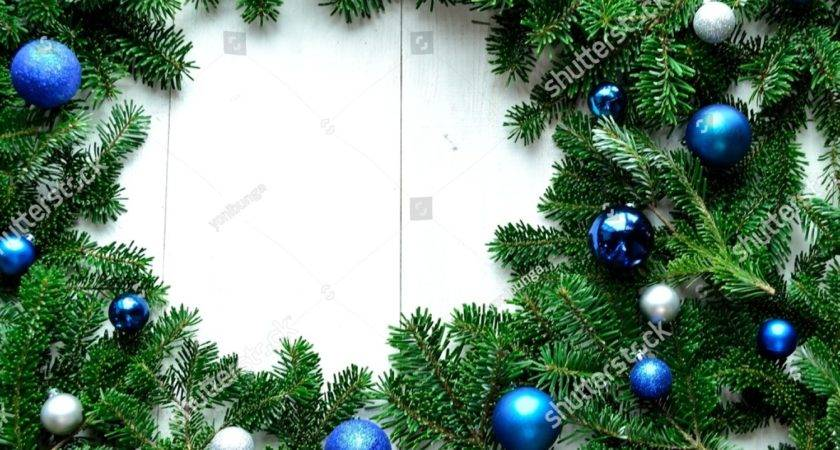 Blue Silver Christmas Ornament Balls Fir Leaves