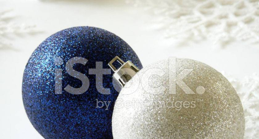 Blue Silver Christmas Ornaments Photos