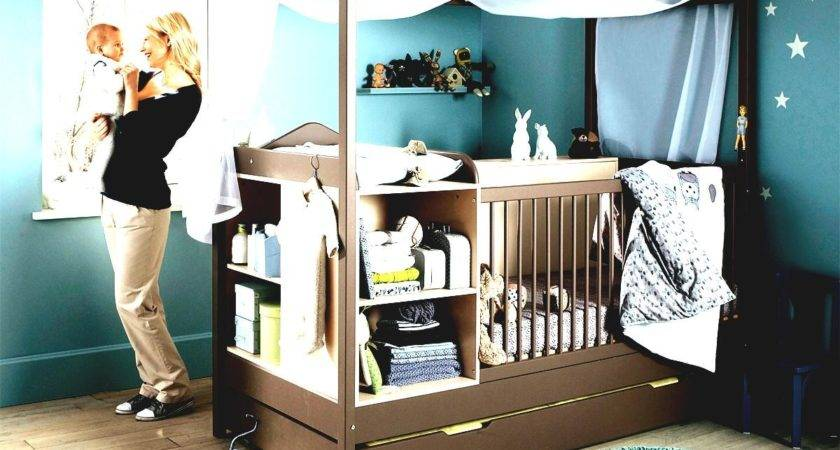 Blue Wall Paint Decoration Brown Crib Canopy Wooden