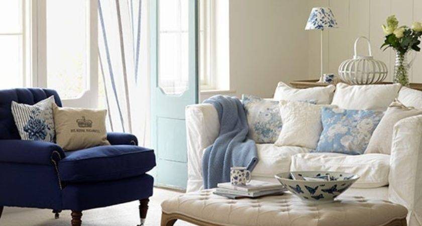 Blue White Living Room Decorating Country