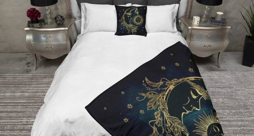 Boho Midnight Black Teal Gold Sun Moon Stars