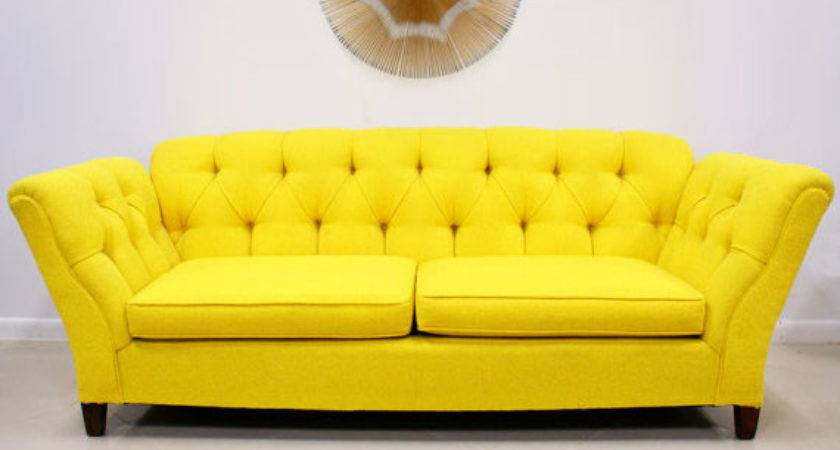 Bright Colored Sofas Yellow Tufted
