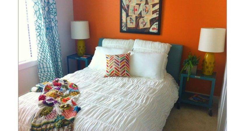 Bright Orange Bedroom Wall Teal Accents Guest