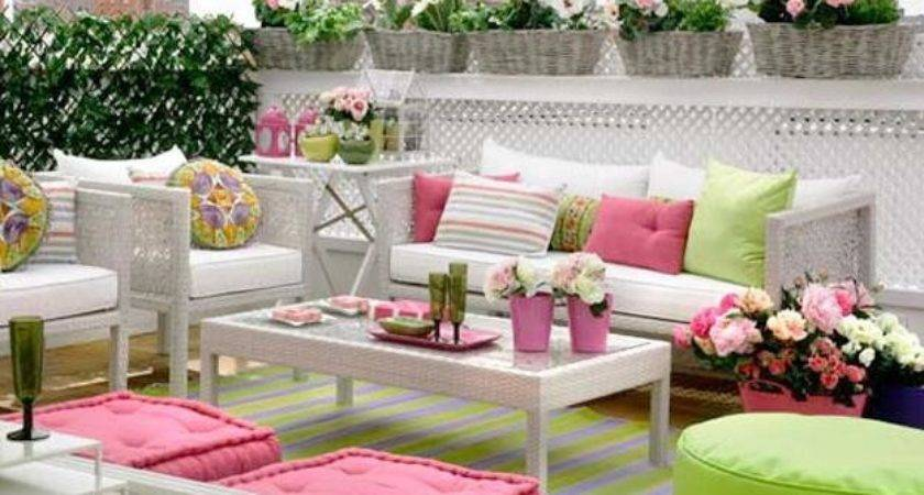 Bright Pink Green Colors Outdoor Home Decorating