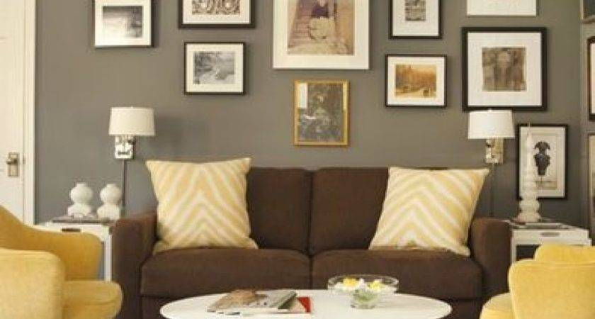 Brown Couch Grey Walls White Accents