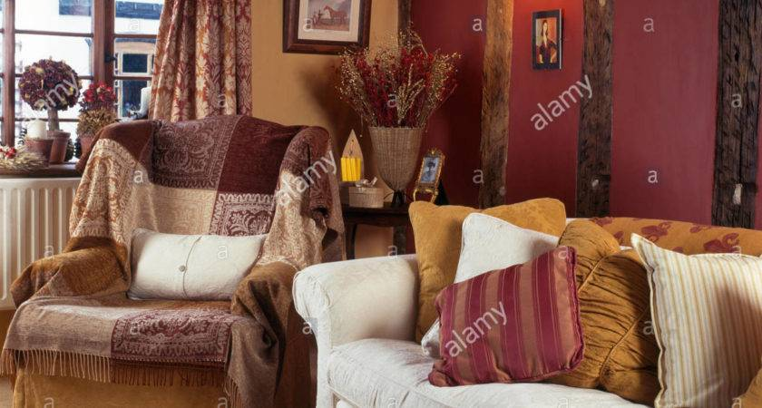 Brown Patchwork Throw Armchair Cosy Cottage Living
