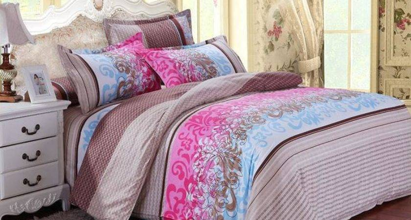 Brown Pink Bedding Set Cheap Bedclothes Bedspread Bed