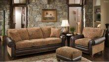 Brown Sofa Set Resting Room Stones Wall