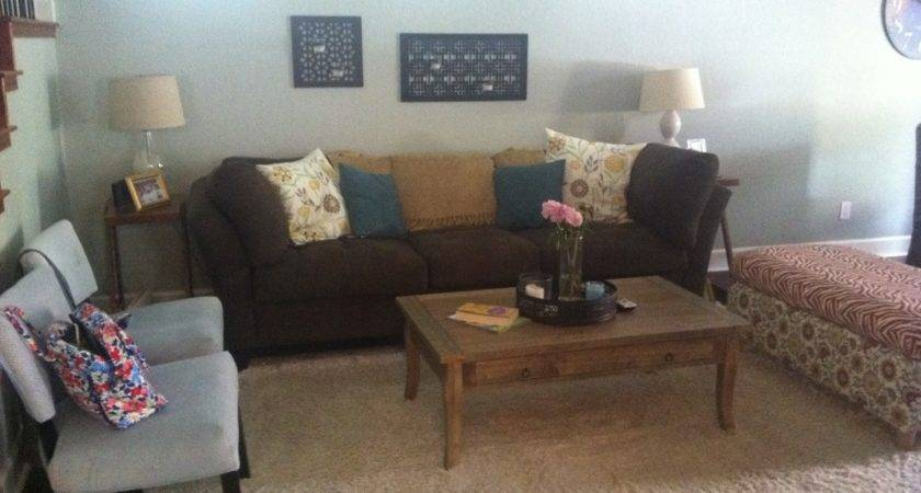 Brown Teal Cream Grey Living Room Decor